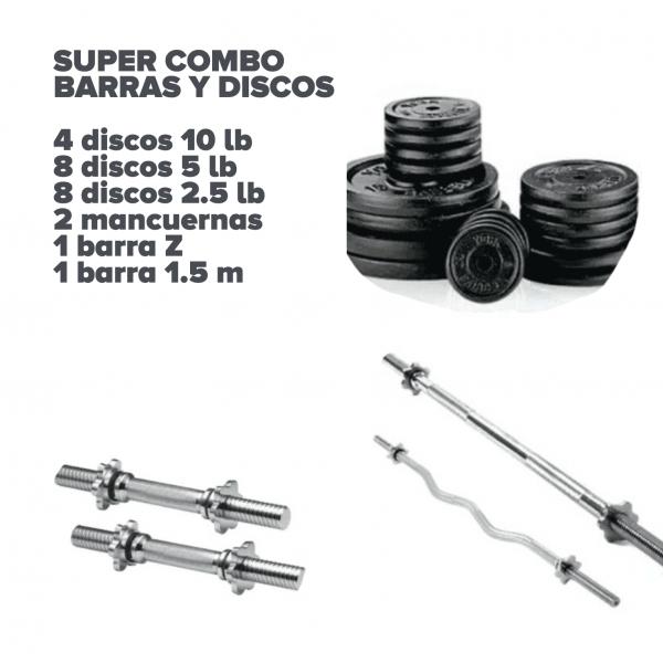 Súper combo 20 discos, mancuernas, barras - Bogotá