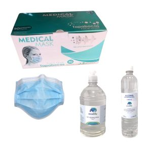 Kit 50 Días: 50 Tapabocas 3 capas + Gel Antibacterial 1 Litro | Gratis: Alcohol Antiséptico Litro