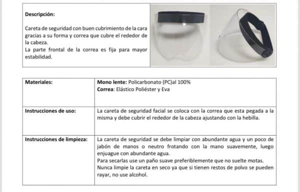 2x1 Caretas de Policarbonato 16 cm con curva interna mentón | Máscara o visor con protección UV