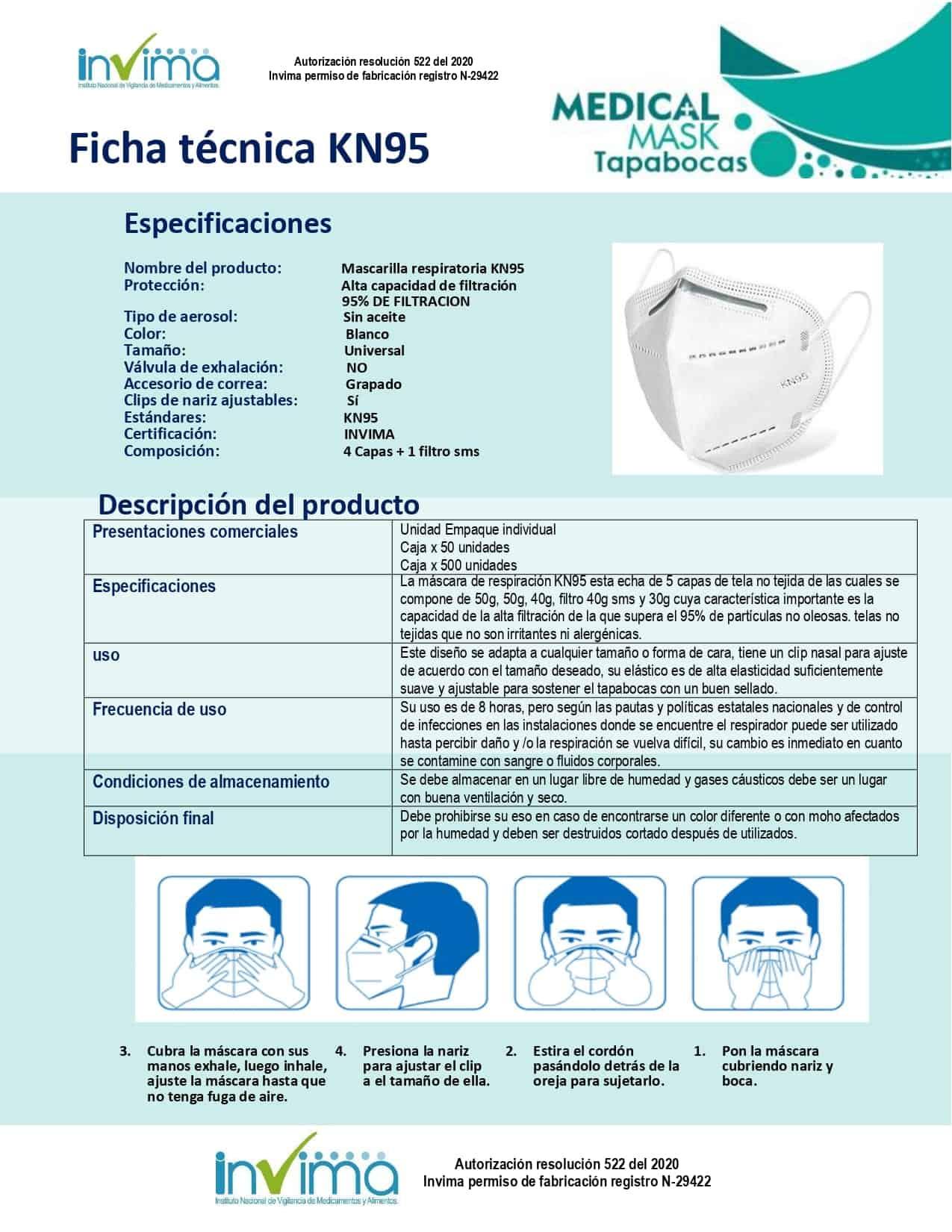 Ficha Tecnica Mascarilla protectora tipo tapabocas KN95 no tejido en Boni.com.co
