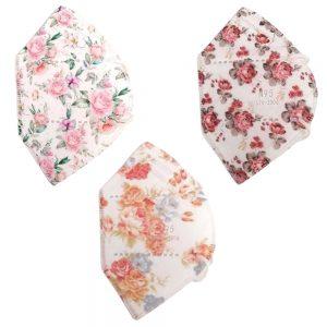 12 Tapabocas N95 con Clip Nasal Estampado Motivo floral   Empaque individual