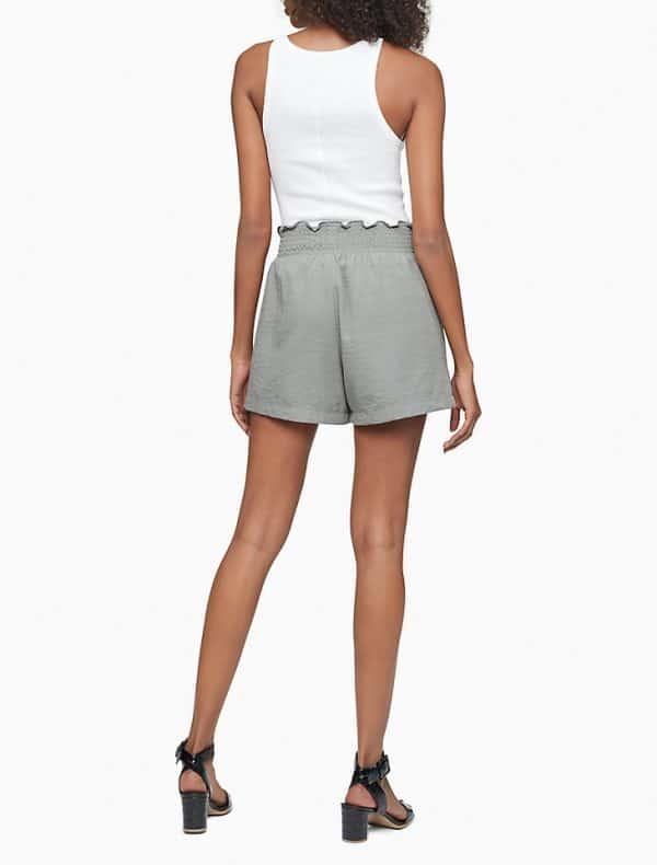 "Shorts Mujer Calvin Klein Gauze Smock Waist 4"" Olive | Original"