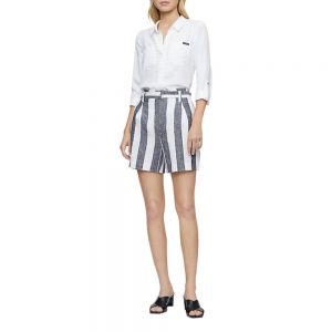Shorts Calvin Klein Woman Ramie Blend Grey/White Stripe Belted High Waist | Original