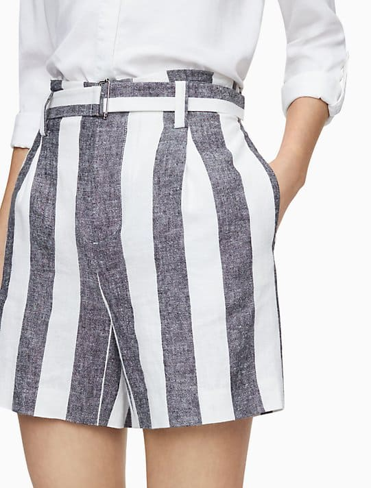 Shorts Mujer Calvin Klein Ramie Blend Stripe Belted Grey/White | Original