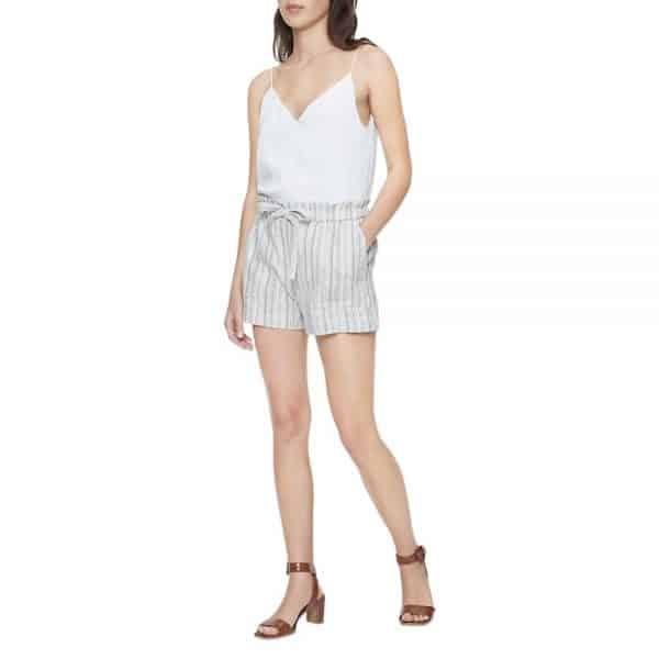 "Shorts Calvin Klein Woman Striped Linen Blend Tie Waist 4"" Khaki   Original"