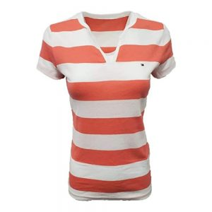 Camiseta de Mujer Tommy Hilfiger Essential Split-Neck Rugby Coral White | Original