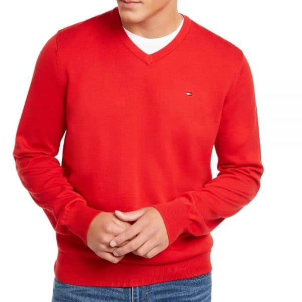 Buso Hombre Tommy Hilfiger Sweater Signature Solid V-Neck Red | Original