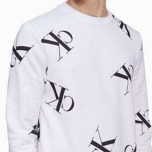 Buzo Seashirt Hombre Calvin Klein Tossed Monogram Logo White | Original