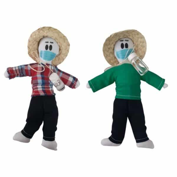 2x1 Kits Tradición Muñeco Año Viejo 21 cm con tapabocas Propósitos y Deseos | Hecho en Colombia