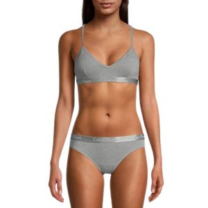 Top Bralette Mujer Calvin Klein Motive Cotton Lightly Lined Grey | Original