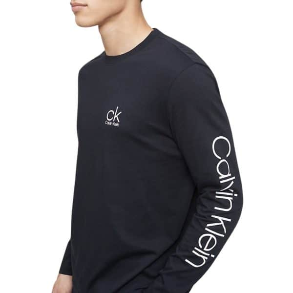 Buzo Calvin Klein Active Logo Graphic Long Sleeve Tee Black | Original