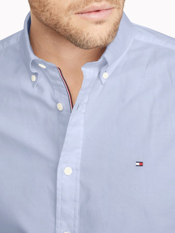 Camisa Manga Larga Hombre Tommy Hilfiger Custom Fit Essential Solid Blue | Original