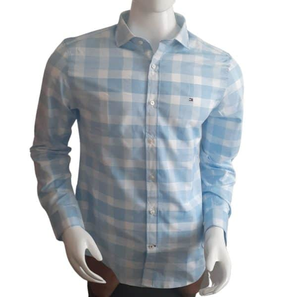 Camisa Manga Larga Hombre Tommy Hilfiger Slim Fit Stretch Cuadros Azul y Blanco | Original
