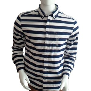 Camisa Manga Larga Hombre Tommy Hilfiger Custom Fit Essential Stripes White Blue | Original