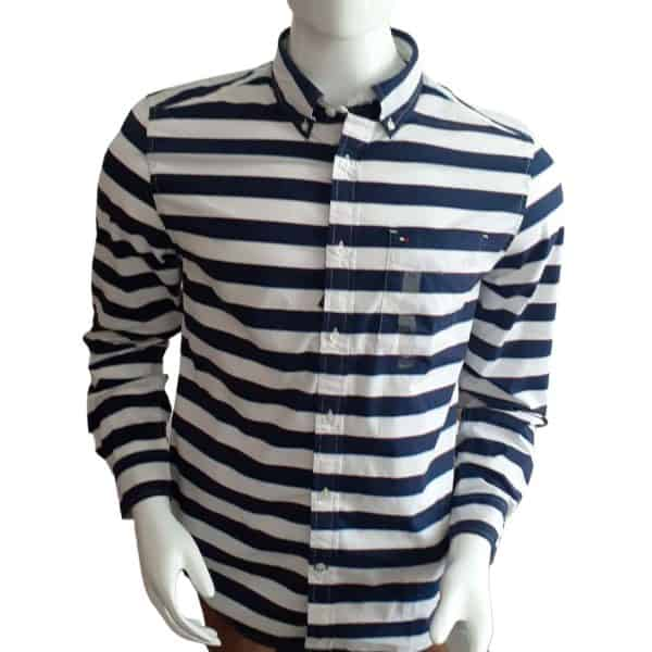 Camisa Manga Larga Hombre Tommy Hilfiger Custom Fit Essential Stripes White Blue | Original
