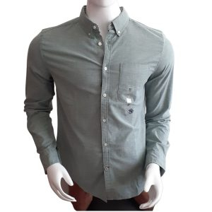 Camisa Manga Larga Hombre Tommy Hilfiger Custom Fit Essential Solid Green   Original