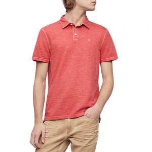 Polo Hombre Calvin Klein Monogram Logo Slub Anthem Red | Original