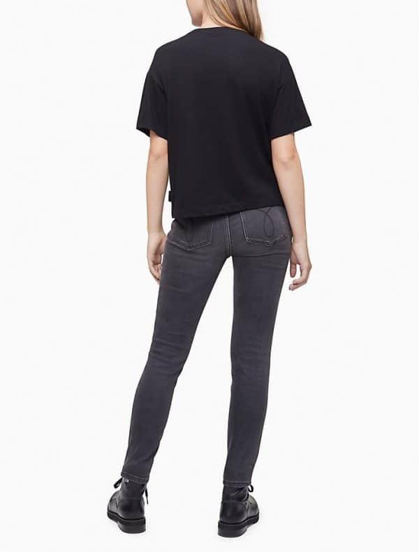 Camiseta Mujer Calvin Klein Camo Stud Boyfriend Cropped Black | Original