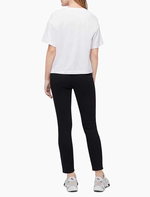 Camiseta Mujer Calvin Klein Camo Stud Boyfriend Cropped White | Original