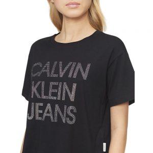 Camiseta Mujer Calvin Klein Rhinestone Logo Crewneck Boyfriend Black | Original