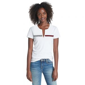 Camiseta Mujer Tommy Hilfiger T-Shirt Essential Split-Neck White | Original