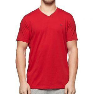 Camiseta Hombre Tommy Hilfiger Cuello en V Rojo   Original