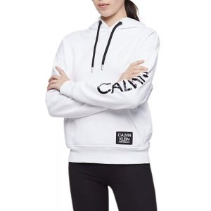 Hoodie Mujer Calvin Klein Performance Logo Oversized Pocket White | Original