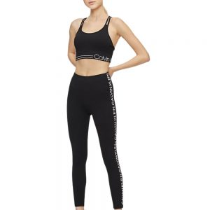 Leggins Mujer Calvin Klein Performance Logo Stripe High Waist 7/8 Black | Original