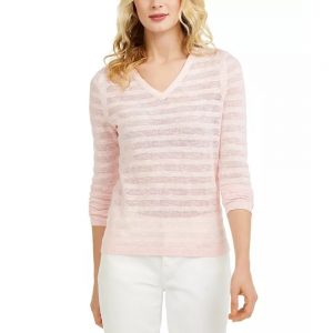 Saco Mujer Tommy Hilfiger Striped Pointelle-Knit Cotton Pink Candy | Original
