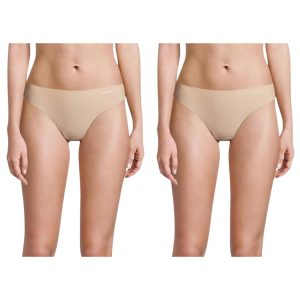 Pack 2 Tangas Mujer Calvin Klein Invisible Beige   Original