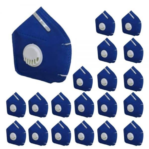 2x1 Paga 10 lleva 20 Tapabocas Azul N95 con válvulas