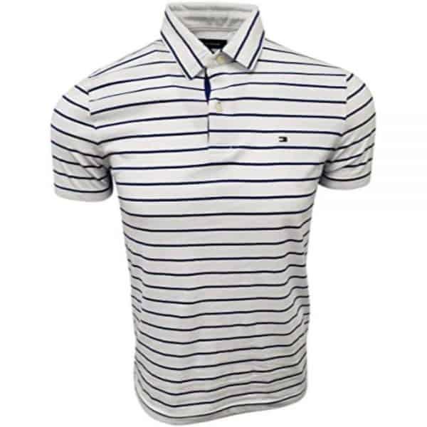 Polo Hombre Tommy Hilfiger Stripes Navy Cotton White   Original