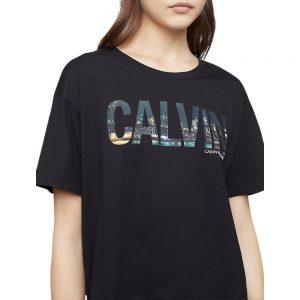 Blusa Mujer NYC Skyline Print Monogram Logo Boyfriend T-Shirt Black | Original