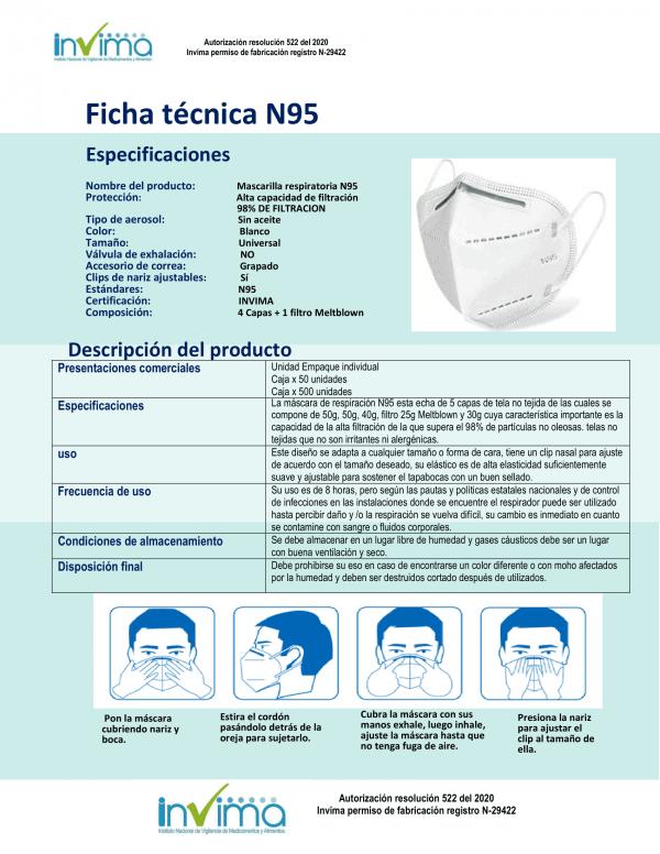 2 Cajas | Lleva 100 paga 50 Tapabocas N95 de 5 capas INVIMA | Empaque individual  - Unidad $2699