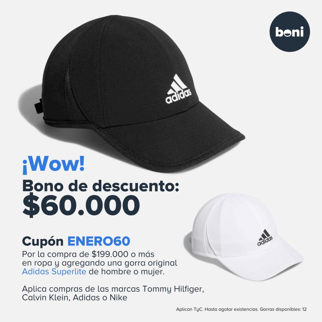 Bono de descuento Gorra Adidas Superlite Hombre y Mujer en boni.com.co