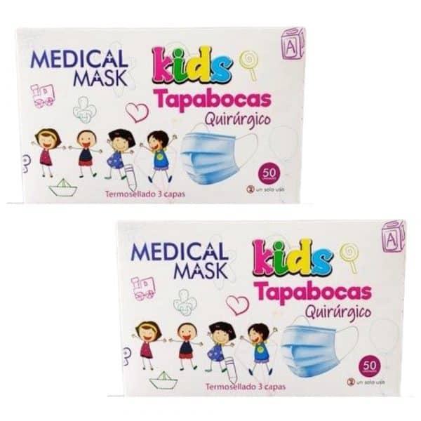 2 Cajas Total 100 Tapabocas Quirúrgico Termosellados 3 capas para Niños INVIMA | Empaque Individual