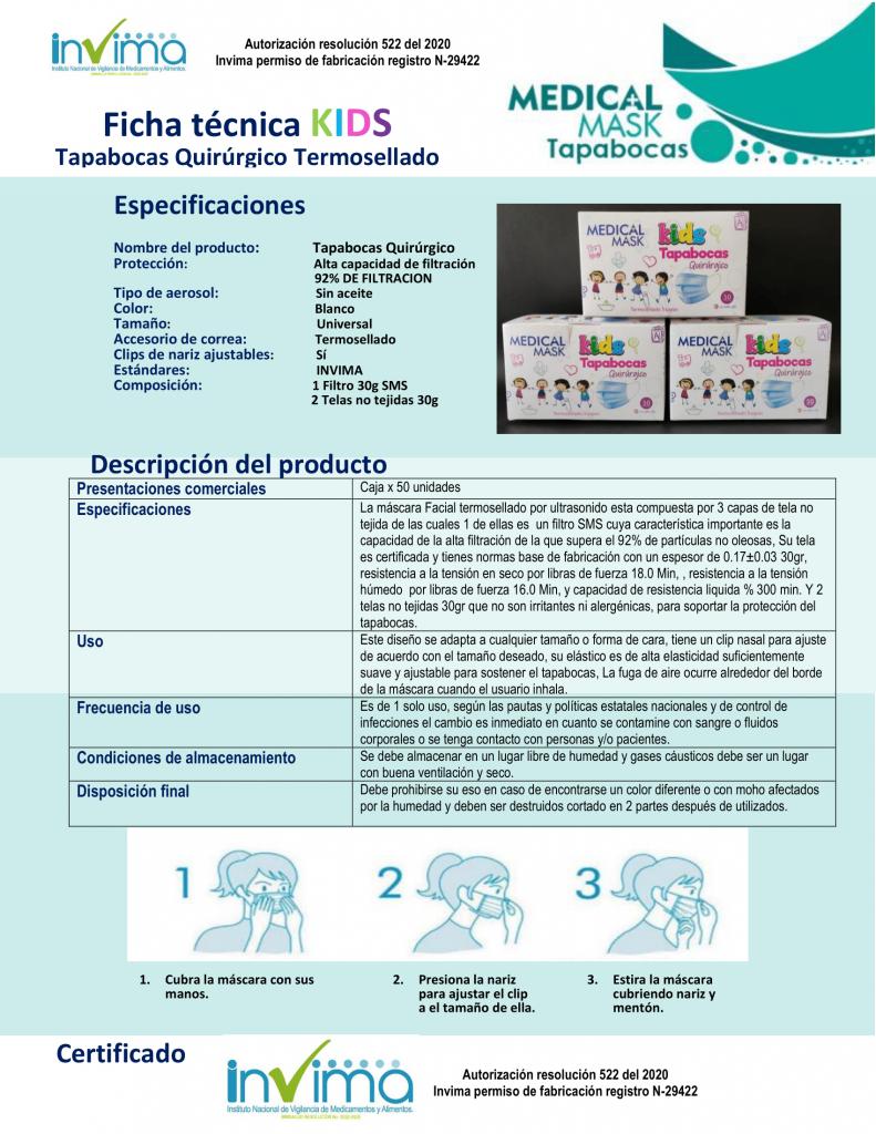 Ficha Tecnica Tapabocas termosellado 3 capas para niños no tejido en Boni.com.co