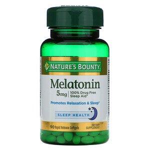 Melatonina Nature's Bounty | 90 Cápsulas de Gel Suave 5 mg
