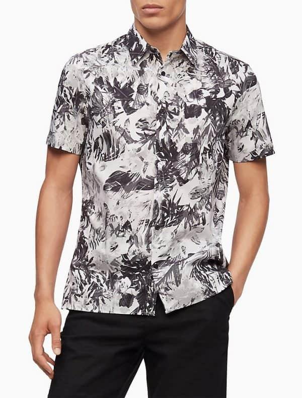 Camisa Hombre Calvin Klein Shirt Manga Corta Botones Stretch Cotton Floral Contrast | Original