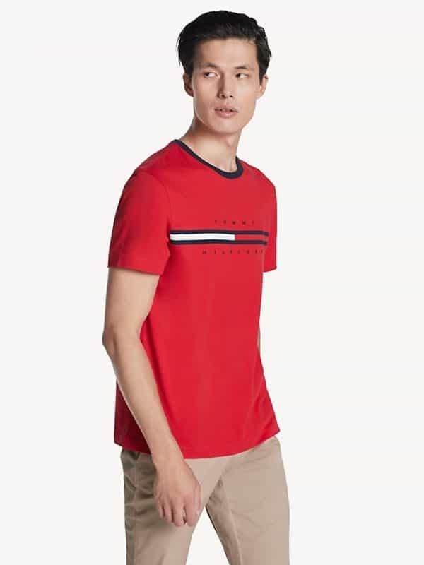 Camiseta Hombre Tommy Hilfiger T-Shirt Essential Flag Logo Red | Original