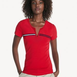 Camiseta Mujer Tommy Hilfiger T-Shirt Essential Split-Neck Red | Original