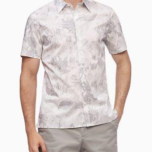 Camisa Hombre Calvin Klein Shirt Manga Corta Botones Stretch Cotton Floral Contrast   Original