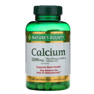 Calcio Nature's Bounty con Vitamina D3 | 120 Cápsulas 1200mg