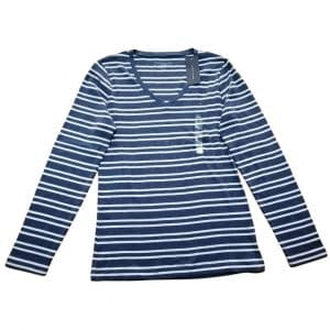 Buzo Mujer Tommy Hilfiger 3/4 Stripes V Neck Blue White | Original