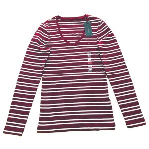 Buzo Mujer Tommy Hilfiger 3/4 Stripes V Neck Wine White | Original