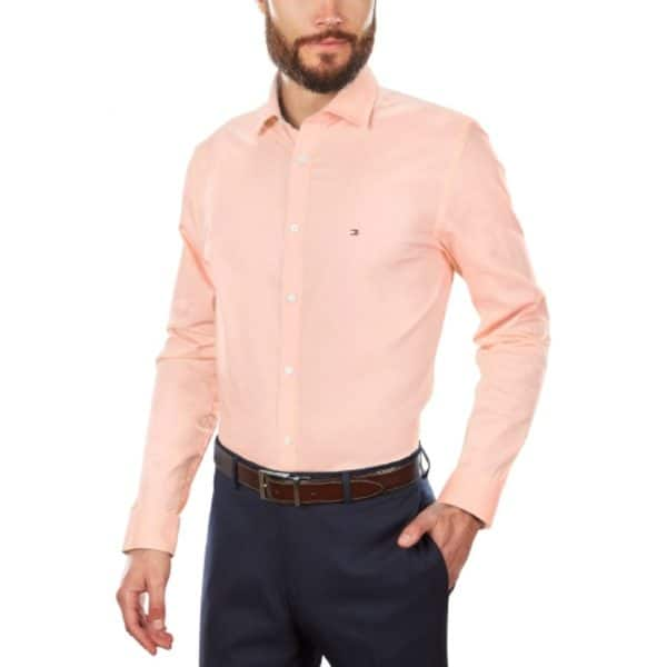Camisa Manga Larga Hombre Tommy Hilfiger Stretch Solid Dress Shirt Orange | Original