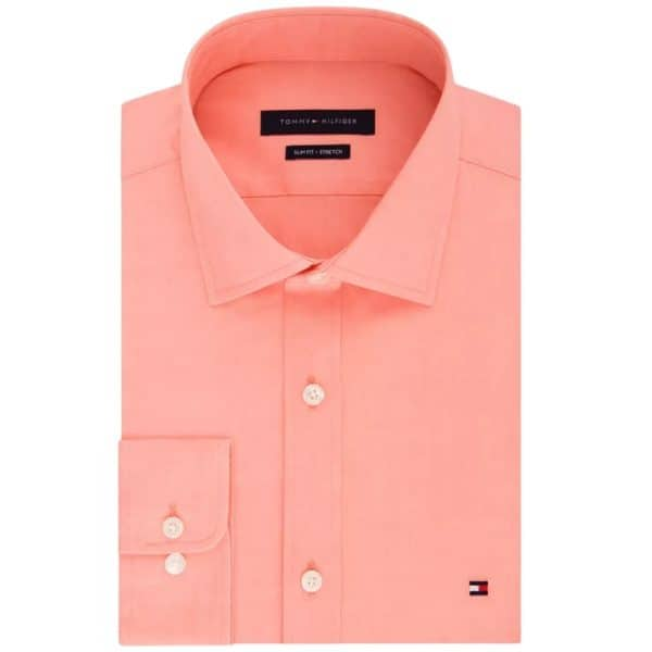 Camisa Manga Larga Hombre Tommy Hilfiger Stretch Solid Dress Shirt Orange   Original