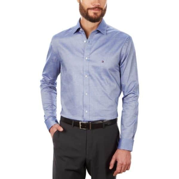 Camisa Manga Larga Hombre Tommy Hilfiger Stretch Solid Dress Shirt Navy | Original