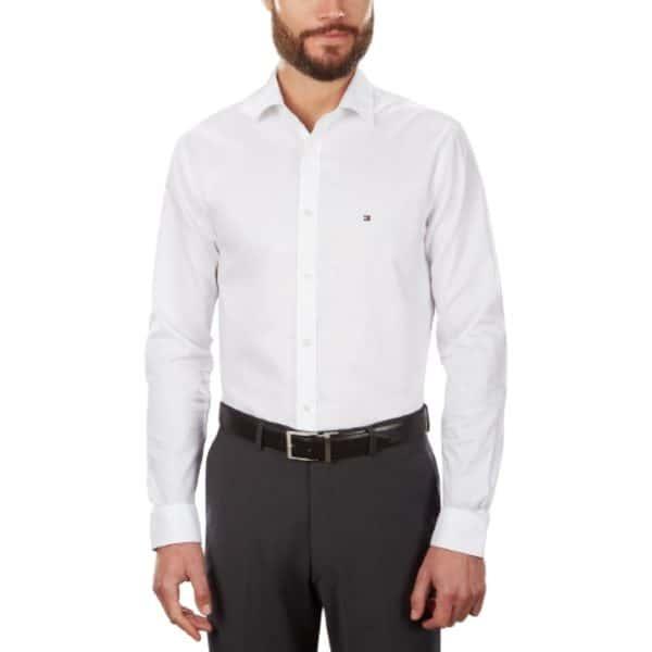 Camisa Manga Larga Hombre Tommy Hilfiger Stretch Solid Dress Shirt White | Original