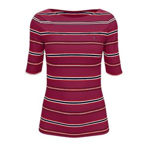 Camiseta Mujer Tommy Hilfiger Essential Stripe Boatneck Beet Red | Original